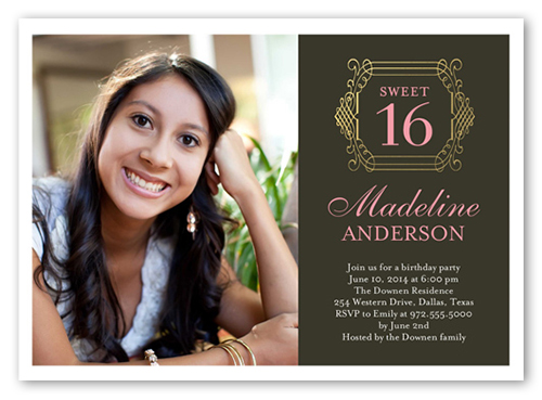 Monogram Sixteen Birthday Invitations