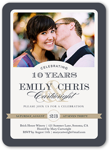 Always And Forever Wedding Anniversary Invitation, Rounded Corners