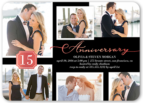 Brilliant Monogram Snapshots Wedding Anniversary Invitation, Rounded Corners