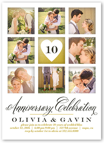 Romantic Memories Wedding Anniversary Invitation, Square