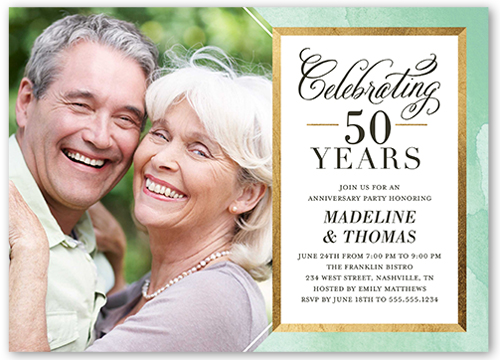 Everlasting Gold Wedding Anniversary Invitation, Square Corners