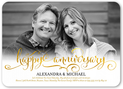 Golden Anniversary Wedding Anniversary Invitation, Square
