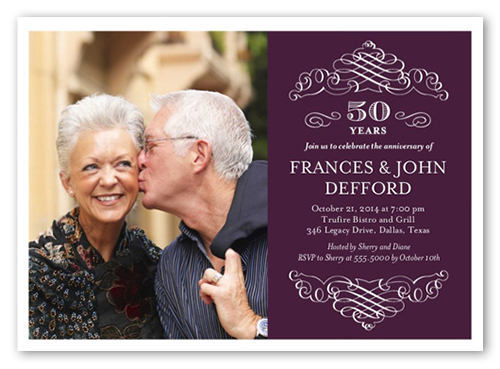 Memorable Years Wedding Anniversary Invitation, Square