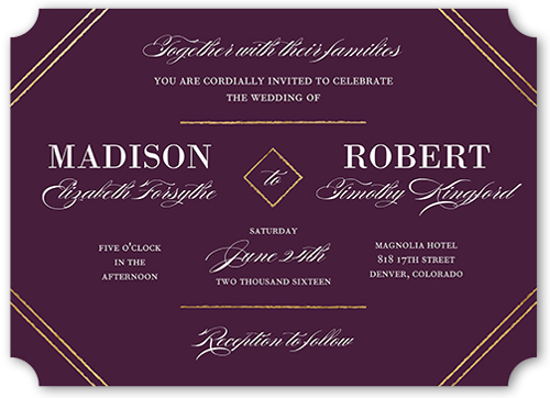 Everlasting Elegance Wedding Invitation, Ticket Corners