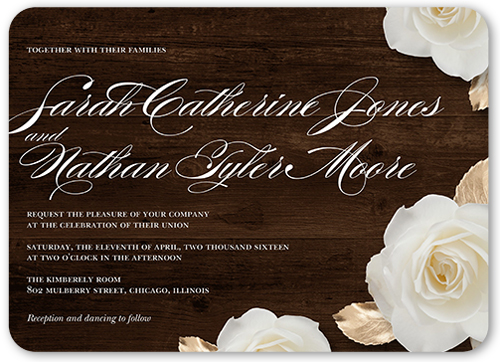 Flowering Fondness Wedding Invitation, Rounded Corners