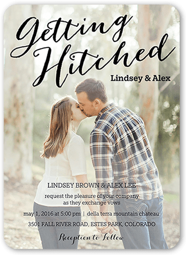 hitched script wedding invitation - Shutterfly Wedding Invitations