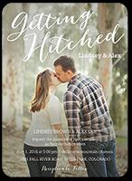 hitched script wedding invitation 5x7 flat