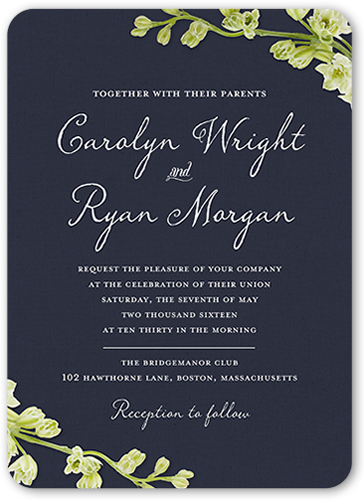 budding romance 5x7 wedding invitation cards