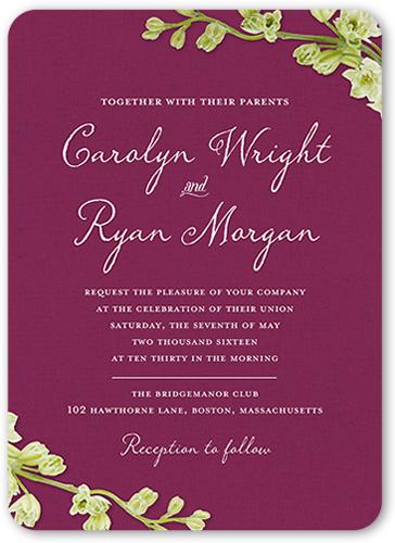 Budding Romance Wedding Invitation, Rounded Corners