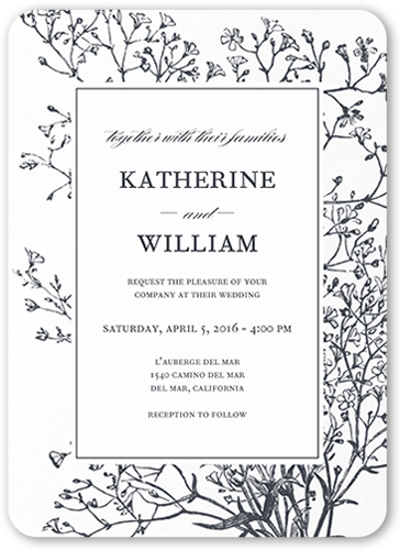 Graceful Elegance Wedding Invitation, Rounded Corners