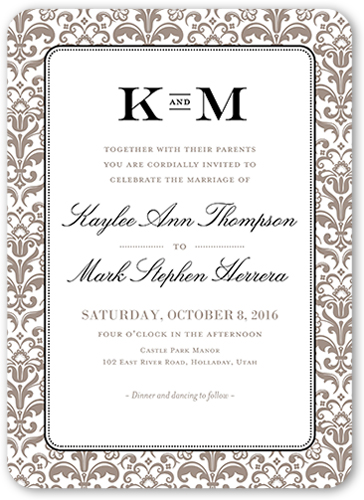 Classic Damask Border Wedding Invitation, Rounded Corners