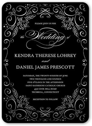 Whimsical Scrolls Wedding Invitation, Square