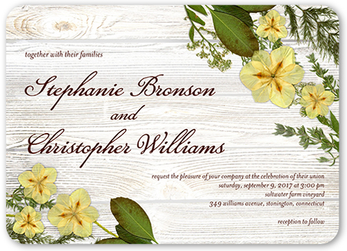 Floral Perfection Wedding Invitation, Rounded Corners