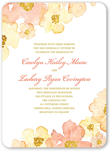 Blooming Forever Wedding Invitation, Rounded Corners