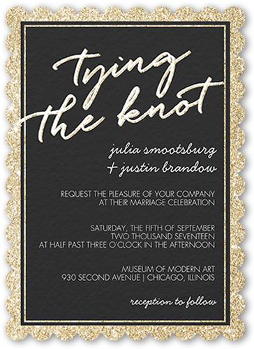 Sparkling Border Wedding Invitation, Scallop Corners