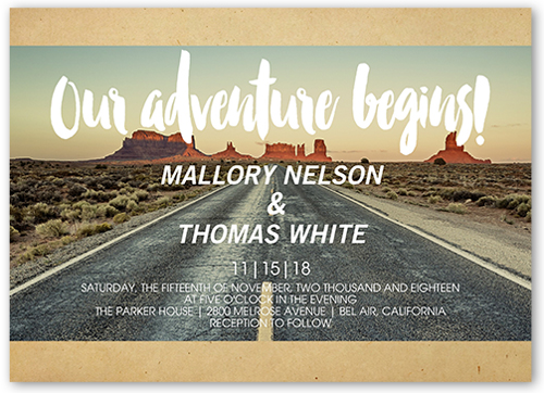 Our Adventure Wedding Invitation, Square Corners