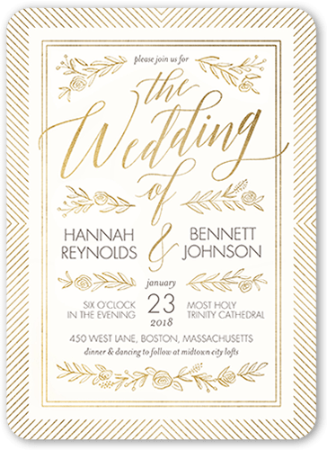gilded perfection wedding invitation - Shutterfly Wedding Invitations