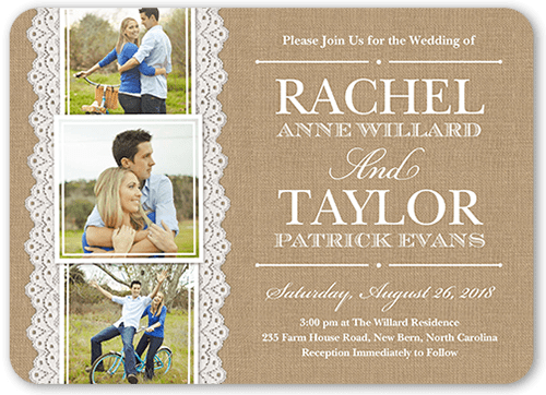 Burlap And Lace Wedding Invitation, Square