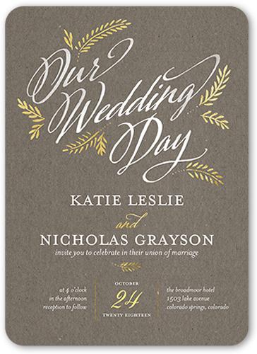 Leafy Splendor Wedding Invitation, Rounded Corners