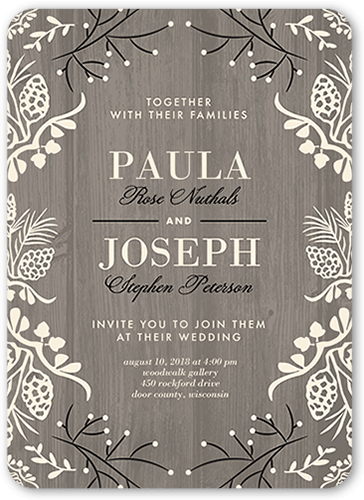 Lovely Wood Wedding Invitation, Rounded Corners