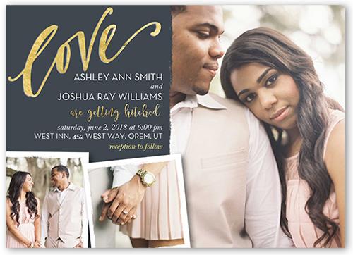 Gilded Love Wedding Invitation, Square Corners