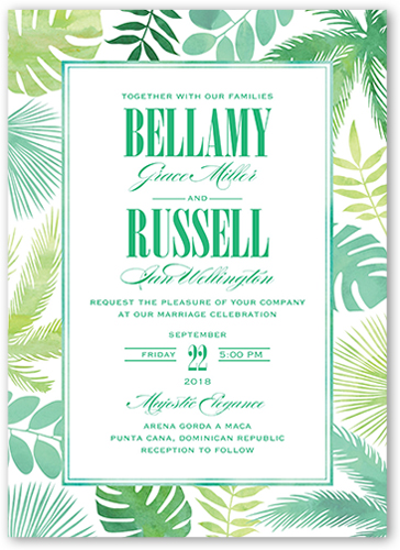 Lush Leaves Wedding Invitation, Square Corners