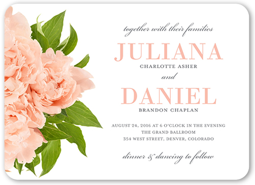 Modern Bouquet Wedding Invitation, Rounded Corners