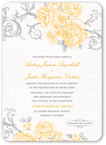 Antique Rose Scrolls Wedding Invitation, Rounded Corners