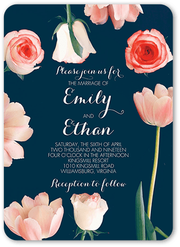 Blooming Adoration Wedding Invitation, Rounded Corners