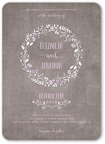 Wreath In Love Wedding Invitation, Rounded Corners