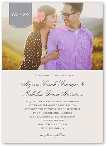 Romantic Tab Wedding Invitation, Square Corners