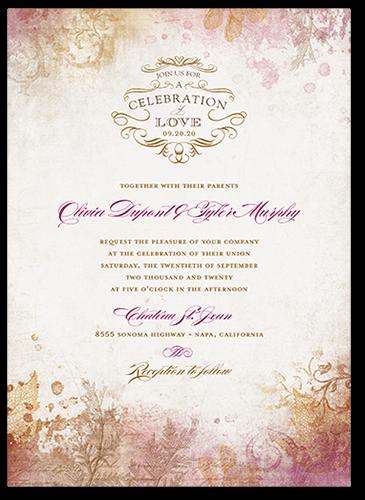 Romantic Regency Wedding Invitation, Square Corners