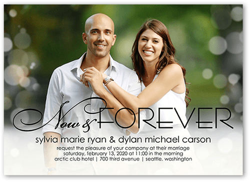 Glowing Forever Wedding Invitation, Square Corners