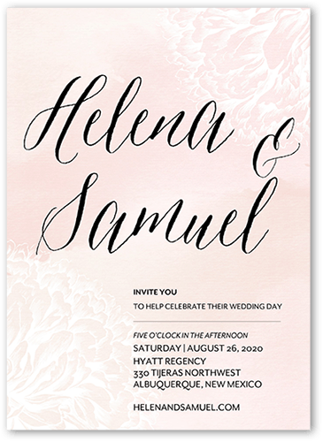 Faint Petals Wedding Invitation, Square Corners