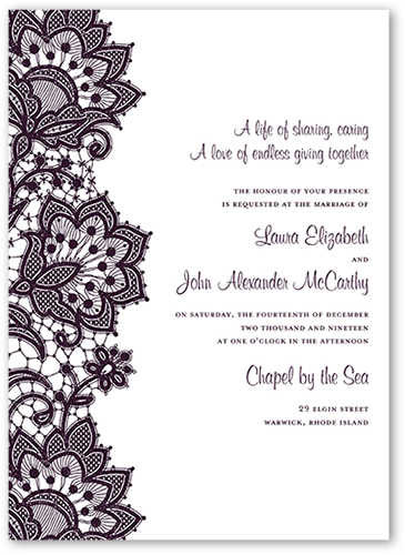 Battenburg Lace Wedding Invitation, Square Corners