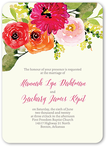 Bohemian Garden Wedding Invitation, Rounded Corners