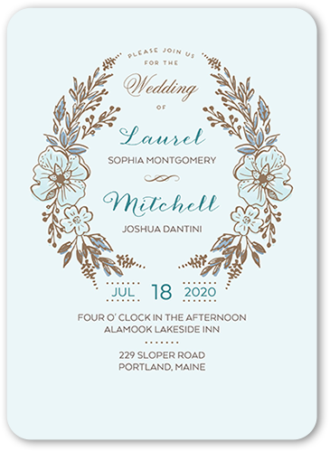 Floral Crest Wedding Invitation, Rounded Corners