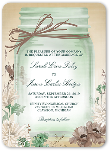Vintage Canning Jar Wedding Invitation, Rounded Corners