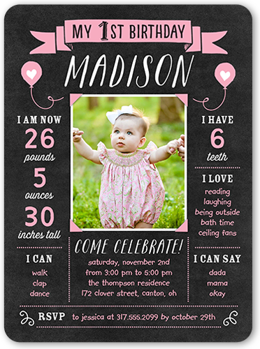 Chalkboard Banner Girl Birthday Invitation 6x8 Flat