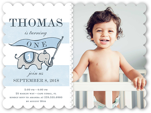 Elephant Banner Boy Birthday Invitation, Scallop Corners