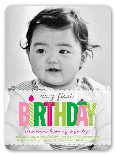 My First Girl 6x8 Invitation Card Girl 1st Birthday Invitations