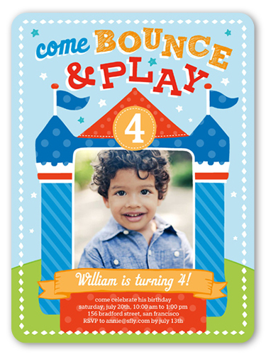 Bounce House Fun 6x8 Boy Birthday Invitations