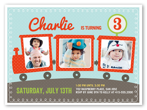 Party Train Birthday Invitation