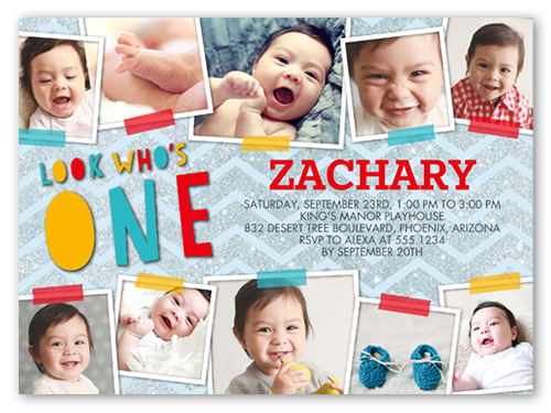 one collage boy x photo card  birthday invitations  shutterfly, invitation samples