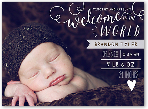 Fun Type Introduction 6x8 Birth Announcements – Birth Announcements Shutterfly
