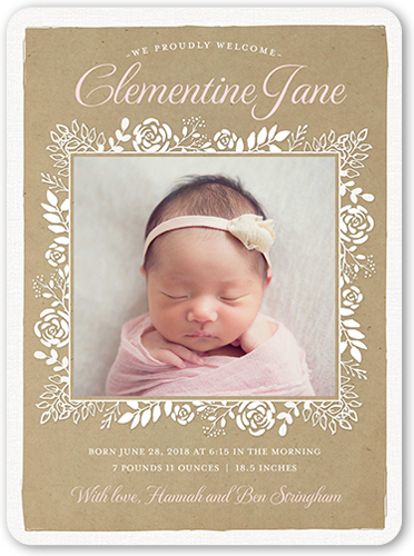 Floral Arrival Frame Birth Announcement, Rounded Corners