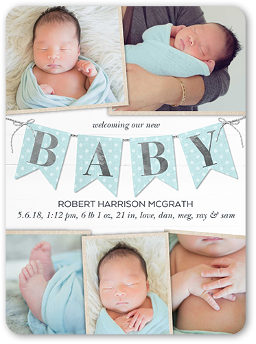 Joyful Banner Boy Birth Announcement, Rounded Corners