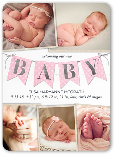 Joyful Banner Girl Birth Announcement, Rounded Corners
