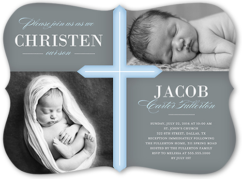 Glorious Cross Boy 6x8 Invitation Baptism Invitations Shutterfly