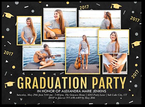 Fun Confetti Class Graduation Invitation, Square Corners